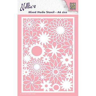 ネリー&アポスの選択A6混合メディアステンシル - 花