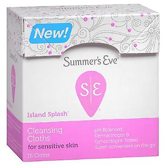 Summer's eve cleansing cloths for sensitive skin, island splash, 16 ea