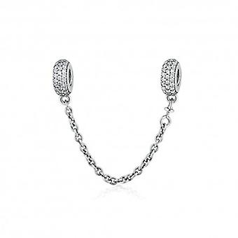Sterling Silver Safety Chain Charm Filled With Zirconia - 5374