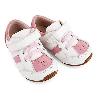 SKEANIE Toddlers and Kids Leather Trainers in Pink and White