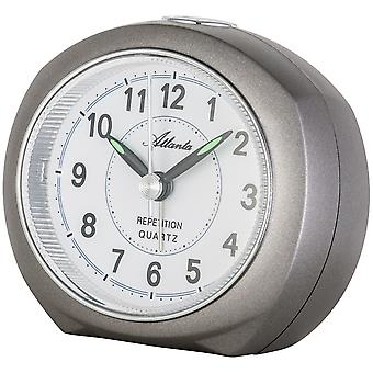Atlanta 1593/4 alarm clock quartz anthracite grey quietly without ticking with light Snooze