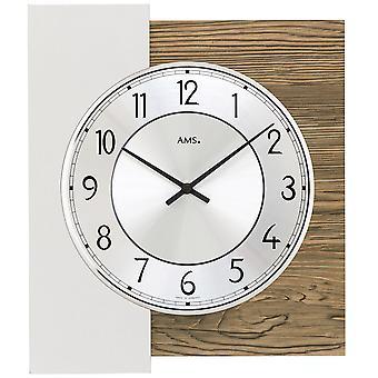 AMS 9582 wall clock quartz analog walnut colors with aluminum finishing