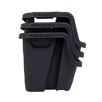Charles Bentley Strata Stapelkrat en Caddy OpslagBundel- Reeks van 2 Robuuste Duurzame Stapelbare Opslag 95% van gerecycleerde plastieken - Zwart