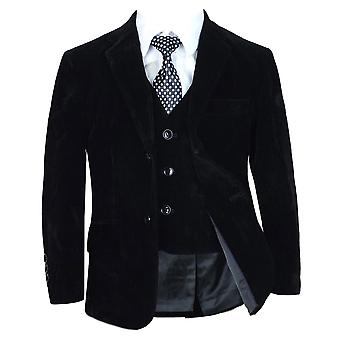 Boys Black Velvet Complete Set Suit