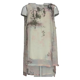 H by Halston Women's Plus Top Brushed Weave Print Woven Ivory A273284 PTC