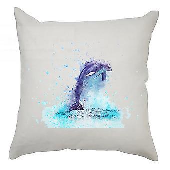 Watercolour Cushion Cover 40cm x 40cm Dolphin