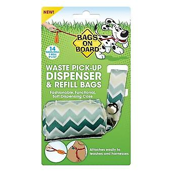 Sacs à bord Chevron Fabric Fashion Dog Poo Plastic Bag Distributeur