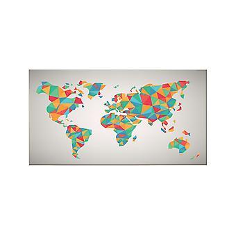 Quadro World 535 Multicolore in Poliestere, Legno, L100xP3xA70 cm