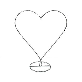 Silver Heart Shaped Metal Bauble & Ornament Display Stand - 28cm