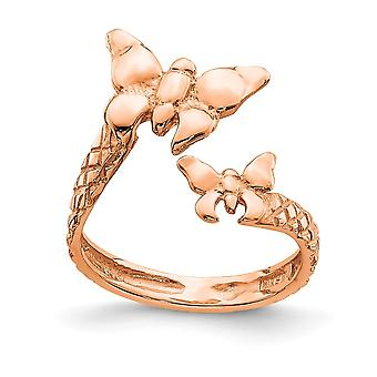 Rosa 14k Polida e Texturizada Borboleta Angel Wings Toe Ring Joias para Mulheres - 1,5 Gramas
