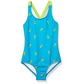 Essentials Girl's Einteiliger Badeanzug, blaue Ananas, X-Small