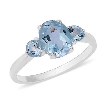 Three Stone Sky Blue Topaz Ring voor Dames Sterling Zilver, 2.91 Ct TJC