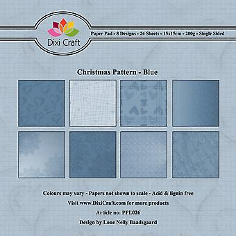 Dixi Craft christmas mønster blå 6x6 tommers papirpakke