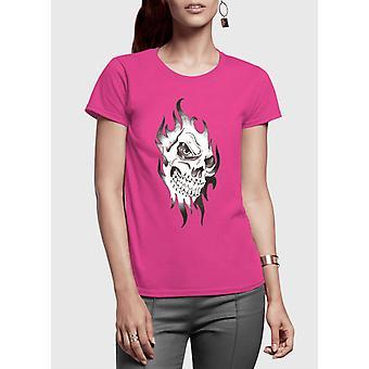 Skull sketch half sleeves women t-shirt