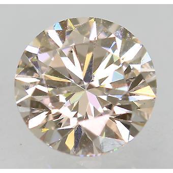 Cert 0.60 Carat TTL Brown VVS2 Round Brilliant Enhanced Natural Diamond 5.4m 3EX