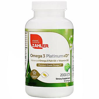 Zahler, Omega 3 Platinum+D, Advanced Omega 3 met vitamine D3, 2.000 mg, 90 Softg