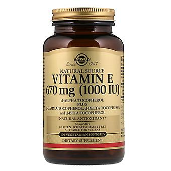 Solgar, Vitamina E de origen natural, 670 mcg (1.000 UI), 100 cápsulas blandas vegetarianas