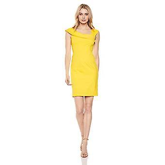 Lark & Ro Women's Asymmetrische Flounce Neckline Sheath Dress, Duchess Yellow, 8