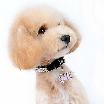 Mini Cute Pets Id Tag Name Address Pendant - Diy Rhinestone Dog Puppy Anti Lost Pet Collar