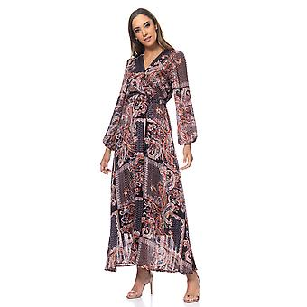 Paisley print long  dress with lurex and belt