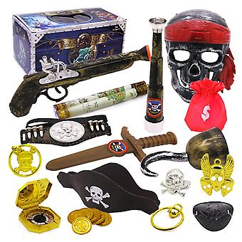 Pirate Theme Toys Supplier Party Toy Decoration Set  Dress Up Toy Treasure Box  (a)