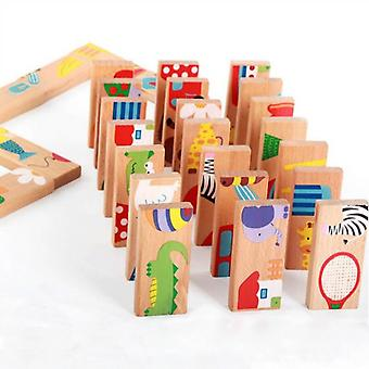 Montessori Educational 28pcs/set Animal Colored Dominoes -wooden Puzzle  (28pieces)