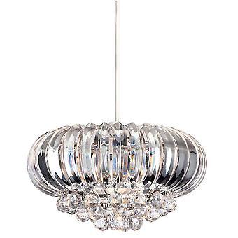 1 Lichte Easy-Fit plafondhanger chroom, helder acryl, E27