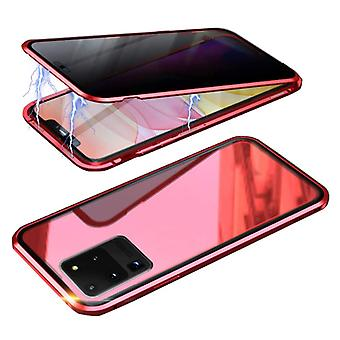 דברים מאושרים® Samsung Galaxy S20 אולטרה מגנטי 360 ° מגן עם זכוכית מחוסמת - כיסוי גוף מלא מגן + מגן מסך אדום