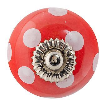 Nicola Spring Ceramic Cupboard Drawer Knob - Polka Dot Design - Rojo / Blanco