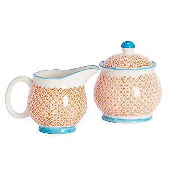 Nicola Spring 2 Piece Hand-Printed Milk Jug and Sugar Bowl Set - Japanese Style Porcelain Kitchen Storage Pots - Orange
