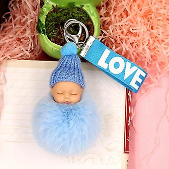Baby Doll Sleutelhanger Flower Pompom Rabbit Fur Ball &key Chain Fluffy Car Porte