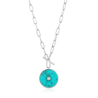 Ania Haie Hidden Gem Rhodium Turquoise T-Bar Necklace N022-04H
