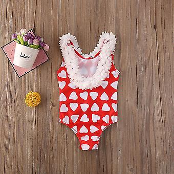 Fashion Toddler Infant Baby Kids Floral Swimsuit- Heart Print Cute Swimming