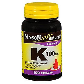 Mason Vitamin K, 100 Mcg, 100 Tabs