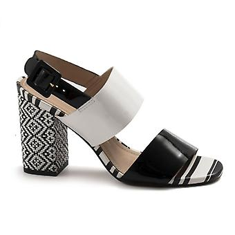 Black and White Tabita Sandals With Decorated Heel