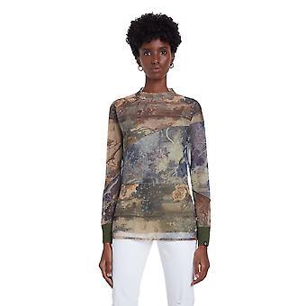 Desigual Chatte Semi Sheer Tulle Watercolour T-shirt 20WWTKC9
