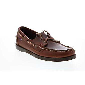 Sebago  Docksides  Mens Brown Leather Lace Up Boat Shoes Loafers