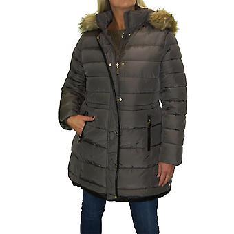 Mujeres's invierno cálido más tamaño acolchado Puffer abrigo señoras descapotable piel sintética con capucha Parka chaqueta 12-22