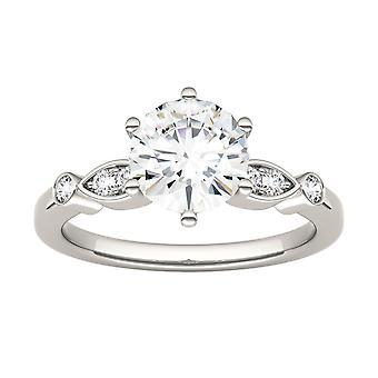 14K Moissanite de oro blanco de Charles & Colvard 7.5mm Round Engagement Ring, 1.59cttw DEW