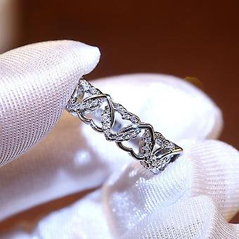 Beautiful ring with hearts in zirkon and 925 silver