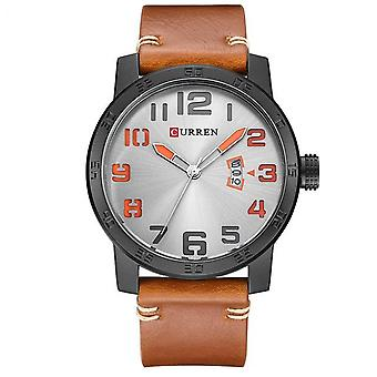 CURREN 8254 Calendar Casual Style Men Wrist Watch Genuine Leather Strap Quartz