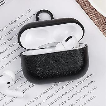 Stuff Certified® Leather Luxury Case for AirPods Pro - Leather Skin AirPod Case Cover - Black