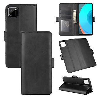 For OPPO Realme C11 Dual-side Magnetic Buckle Horizontal Flip Leather Case with Holder & Card Slots & Wallet(Black)