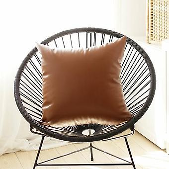 Decorative Vegan Faux Leather Throw Pillow Cover