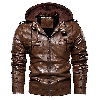 Hombres Chaqueta de moto vintage, bombardero fleece cuero grueso abrigo masculino