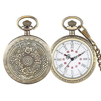 Bronze Retro Roman Numerals Display Quartz Pocket Watch