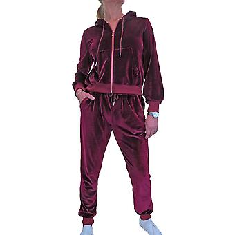 Frauen's weichen Velour Trainingsanzug Set Kapuzen Sweatshirt und Jogger Anzug