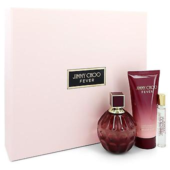 Jimmy Choo Fever Gift Set By Jimmy Choo 3.3 oz Eau De Parfum Spray + 0.25 oz Mini EDP Spray + 3.3 oz Body Lotion