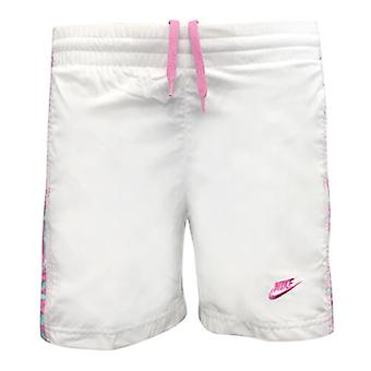 Nike Active Little Girls Kids White Pink Swimming Shorts Trunks 218953 100 A76B