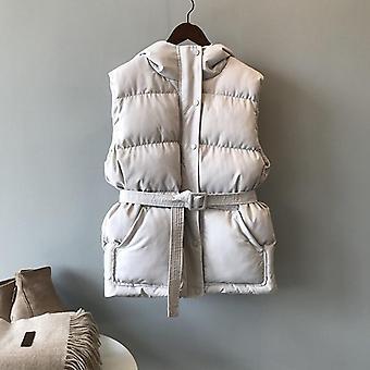 Winter Warm Casual Cotton-padded Vest Female Slim Sleeveless Waistcoat &belt